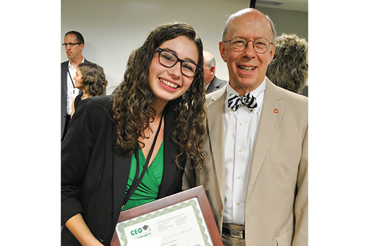 CEO Scholarship recipient Ashley Leblanc with Dr. Stephen J. Reno, Executive Director of Leadership New Hampshire.